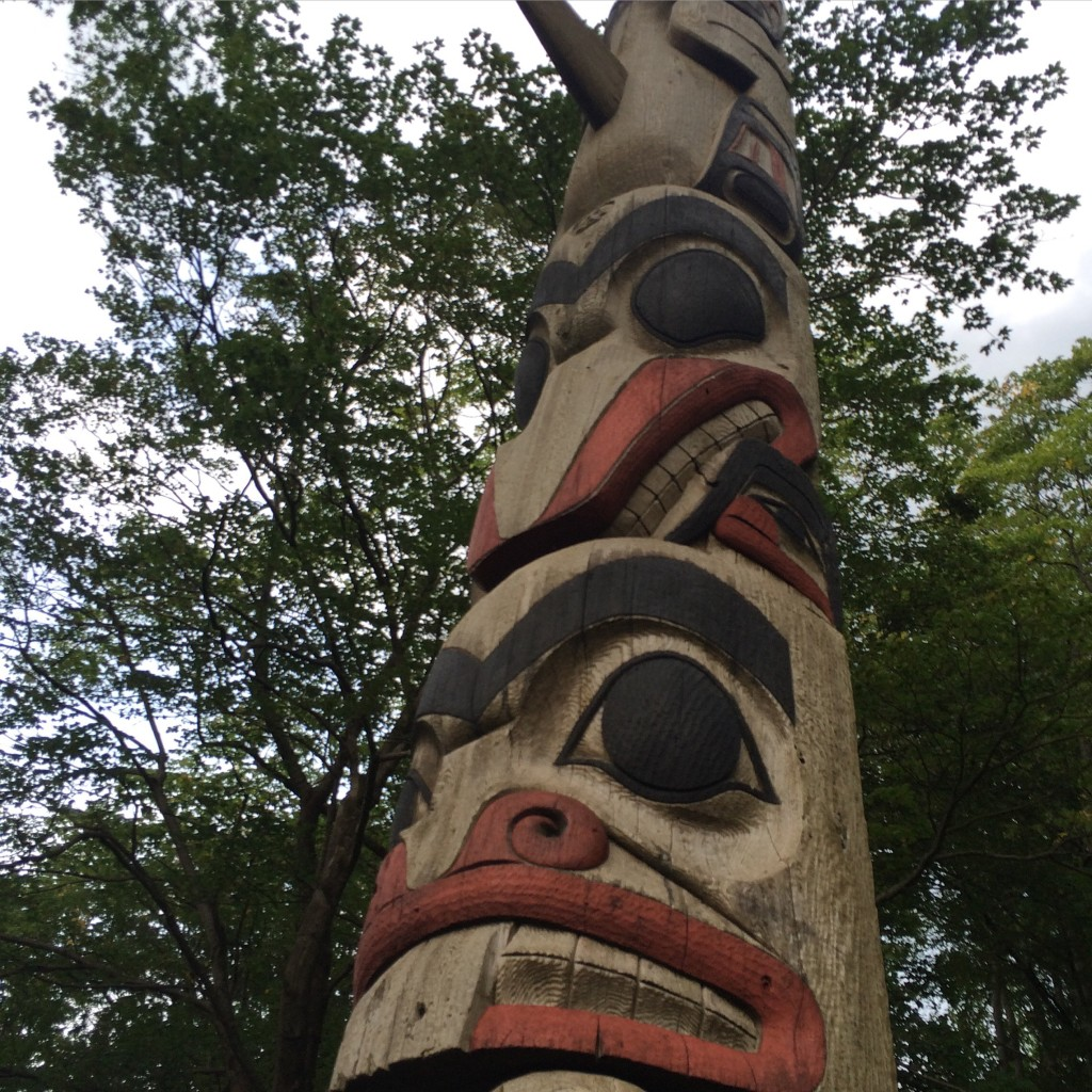 Totem Pole, a gift from Bergen's Sister City, dear old (or, rather, very young) Seattle