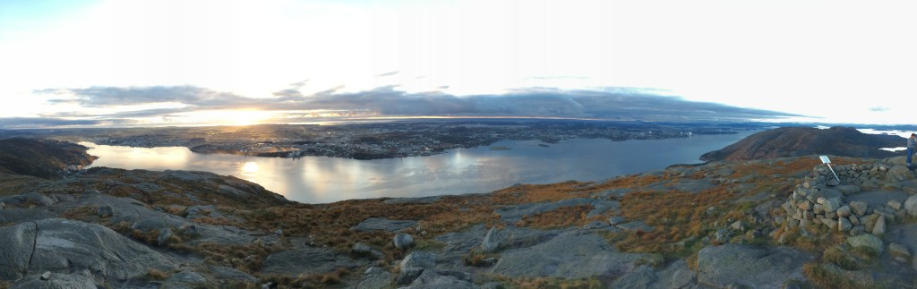 This the view from Dalsnuten, looking toward Sandnes as the sun set. The Atlantic in the distance.