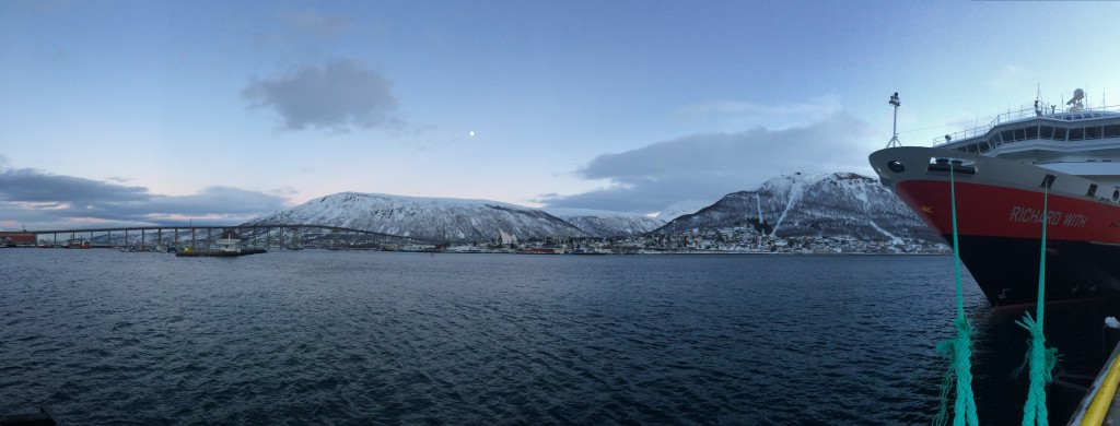 Tromsdalen and Ishavskatedralen (The Arctic Cathedral) from the Tromsø Hurtigruta Port