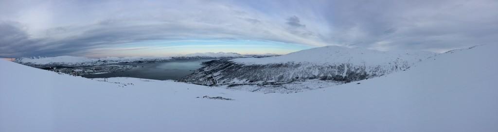 Looking north over Tromsø from atop the world's northernmost ski area