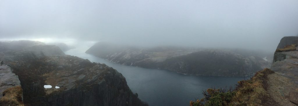 BONUS: Lysefjord from just below Preikestolen, in cloud and snow and hail. Old and dear friend Adam visited last week and we trekked up that hill, and well.