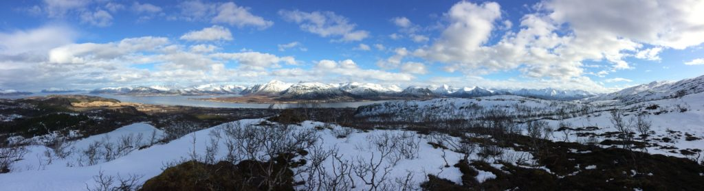 Looking toward Hinnøya, Norway's largest island, Sortland and Sortland Strait below. Vesterålen.