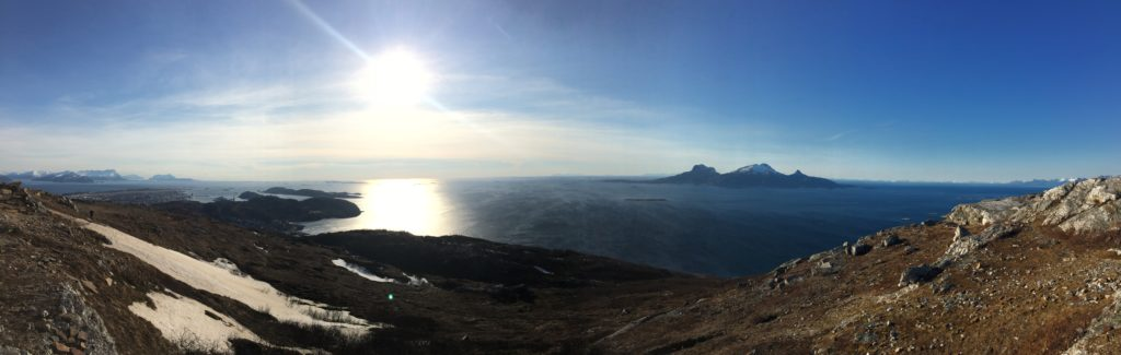 The view westward from Keiservarden on my last visit to Bodø. Landegode to the right and Lofoten in the distance beyond.