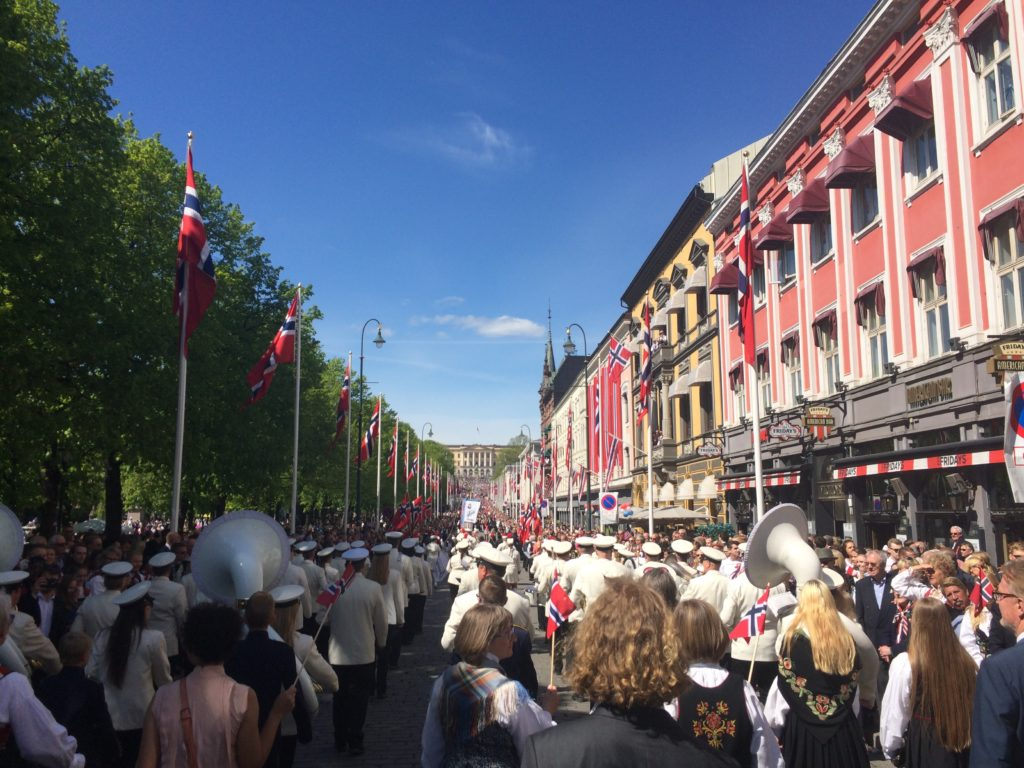 Marching Karl Johans gate with Katta in the 17. mai parade . . .